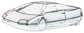 transportation design - aerodynamic car sketch